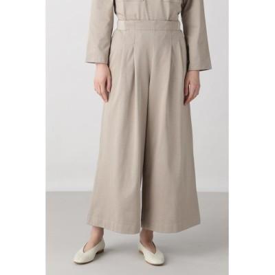 【ヒューマンウーマン】 ≪Japan Couture≫ハイゲージ裏毛パンツ レディース グレージュ2 M HUMAN WOMAN
