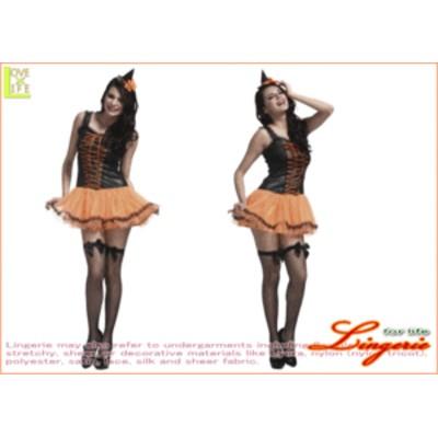 【1 】マジカル ウィッチ オレンジ【魔女】【ウィッチ】【魔術師】【ハロウィン】【仮装】【コスプレ】裾のレースがポイントの、シンプル
