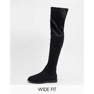 エイソス レディース ブーツ・レインブーツ シューズ ASOS DESIGN Wide Fit Kennedy flat knee boots in black