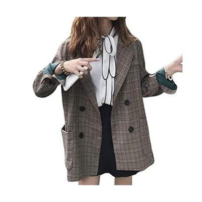 [TaiShan] レディース ジャッケト 春 チェック柄 コート ゆったり おしゃれ スーツ襟 長袖ジャンパー レディース?