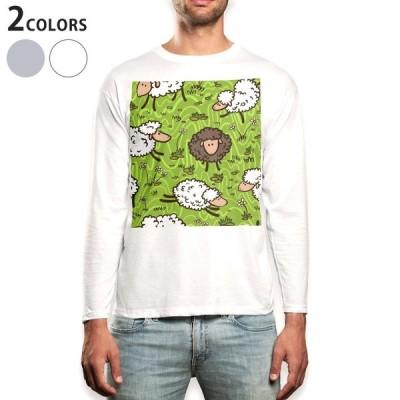 ロングTシャツ メンズ 長袖 ホワイト グレー XS S M L XL 2XL Tシャツ ティーシャツ T shirt long sleeve  ひつじ イラスト 006632