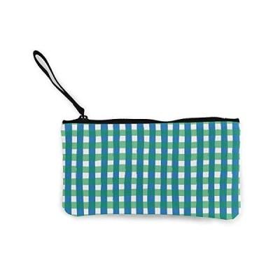 チェック柄 大容量 小銭入れ 持ち運び便利 小物入れ キャンバス ウォレット ポーチ ペンケース おしゃれ 財布