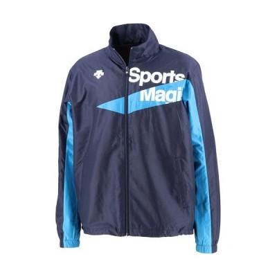 デサント(DESCENTE) メンズ レディース ウインドブレーカージャケット ネイビー/ターコイズブルー DAT3065 NVTQ トレーニングウェア 練習 部活 クラブ 移動着