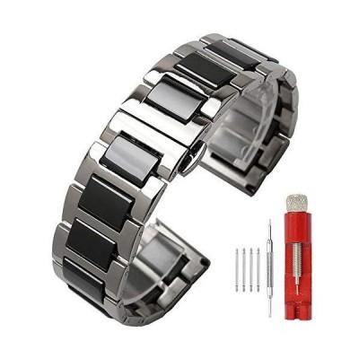 ラグジュアリ- ブラック ホワイト ブル- グリ-ン ブラウン ピンク セラミック 腕時計バンド ステンレススチ-ル 腕時計ブレスレット 展開クラスプ