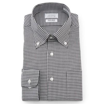 ノンアイロンコットン 黒 ボタンダウンシャツ チェック レギュラーフィット LES MUES