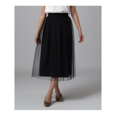 【洗える】チュールミモレ丈スカート