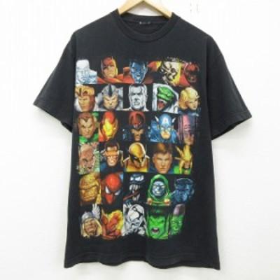 古着 半袖 Tシャツ メンズ マーベル アイアンマン キャプテンアメリカ ヴェノム クルーネック 黒 ブラック Lサイズ 中古 Tシャツ 古着