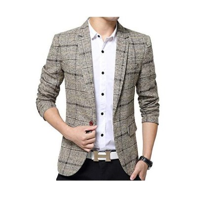 ODFMCE ジャケット メンズ スーツ テーラードジャケット ビジネス カジュアル 紳士 スリム おおきいサイズ (カーキ XXL)