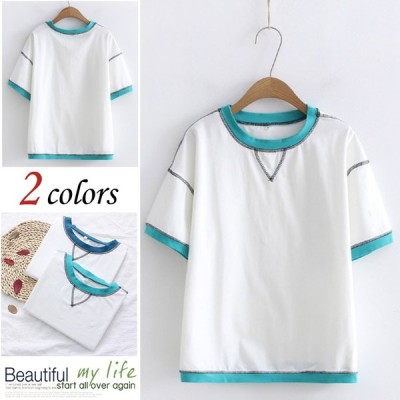 Tシャツ ップス カットソー Tシャツ 半袖 無地 シンプル 丸首 かわいい キレイめ 女性 カットソー Tシャツ