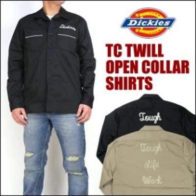 セール Dickies (ディッキーズ) TCツイル 刺繍入り オープンカラーシャツ/長袖ワークシャツ 171M20WD