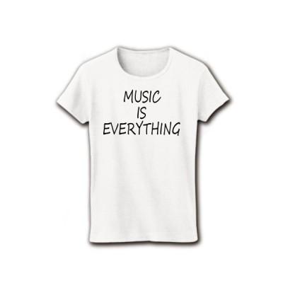 MUSIC IS EVERYTHING リブクルーネックTシャツ(ホワイト)