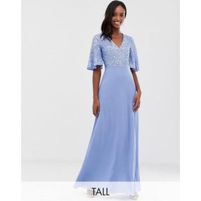 マヤ Maya Tall レディース ワンピース マキシ丈 ワンピース・ドレス sequin top maxi dress with flutter sleeve detail in bluebell ブルー