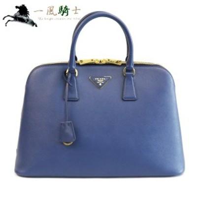 PRADA ハンドバッグ サフィアーノ 型押しカーフ ブルー 中古 370706