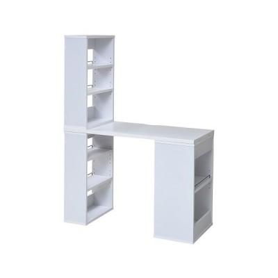 JKプラン デスク 組み換え ユニットデスク 机 シェルフ付 書斎机 パソコンデスク オフィスデスク(ホワイト)