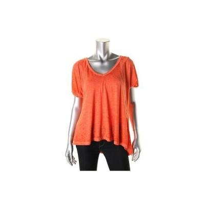 トップス&ブラウス Free People フリー People 0935 レディース オレンジ Heatheレッド オーバーサイズ Tシャツ Top S BHFO