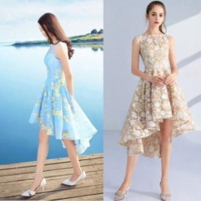 パーティードレス 結婚式 二次会 お呼ばれ ワンピース ノースリーブ お呼ばれドレス ドレス 20代 30代 40代  フィッシュテール 花柄