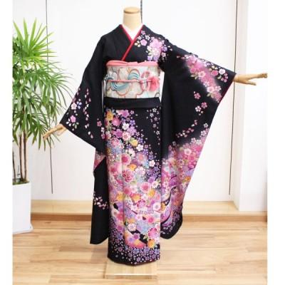 振袖 中古 フルセット 正絹 一式 格安 安い 美品 リサイクル 仕立て上がり 晴れ着 着物 和装 和服  黒 花 紫 桜