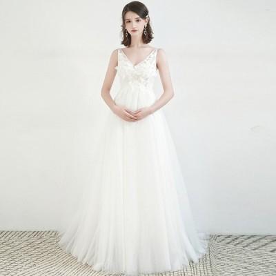 ウェディグドレス マタニティドレス 白 花嫁 二次会 ワンピース 大きいサイズ ドレス 結婚式 パーティードレス ロングドレス 安い トレーン 送料無料