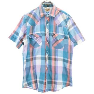 ヤングブラッズ 80s  チェック柄 半袖 ウェスタンシャツ M Youngbloods メンズ 古着 200511 メール便可