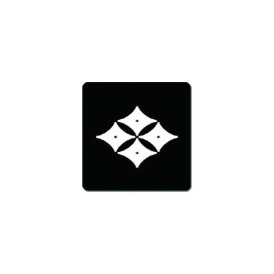 家紋シール 反り四つ目菱紋 24cm x 24cm KS24-2624W 白紋