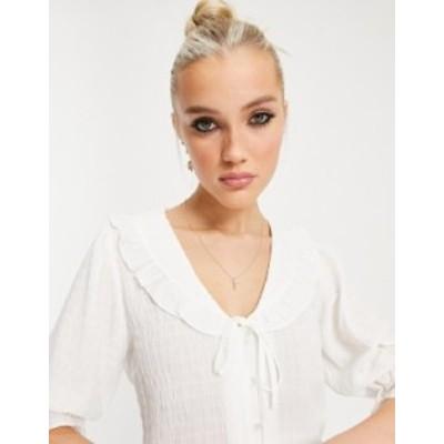 ニュールック レディース シャツ トップス New Look ruffle collar blouse in white White