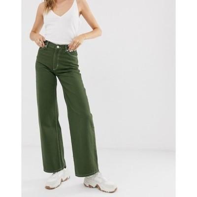 モンキ レディース デニムパンツ ボトムス Monki Yoko wide leg jeans with organic cotton in khaki