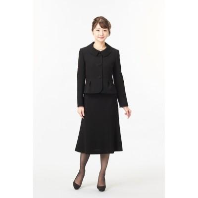 アンサンブル 3点セット ジャケット(くるみ釦) シフォン袖ブラウス スカート 濃染加工