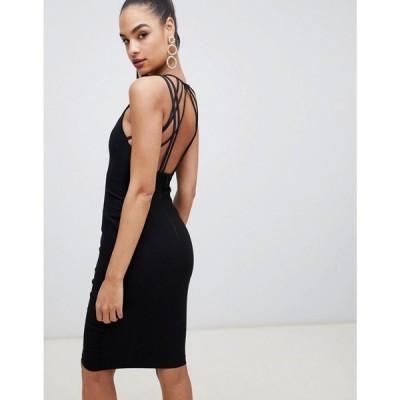 ヴェスパー Vesper レディース ワンピース ミドル丈 ワンピース・ドレス strappy back midi dress in black ブラック