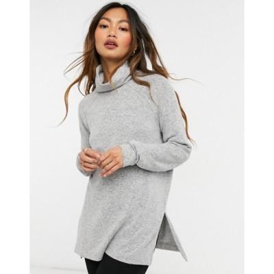 ヴェロモーダ レディース ニット・セーター アウター Vero Moda longline sweater with roll neck and side slits in gray