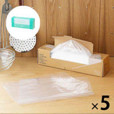 アスクル【数量限定 お買い得セット】ポリ袋 食品保存袋L 透明 1箱(140枚入)×5セット+フリーザーバッグ M 1箱(50枚入)ロハコ