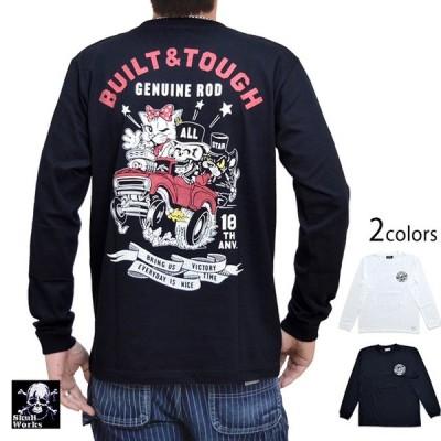 オールスター長袖Tシャツ スカルワークス 111936 SKULL WORKS ロングTシャツ 髑髏 猫 ライアン ネコ アメカジ
