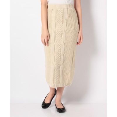 (NICE CLAUP OUTLET/ナイスクラップ アウトレット)【natural couture】ケーブルニットスカート/レディース ライトベージュ