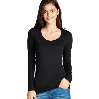 レディース 衣類 トップス Women's Long Sleeve Scoop Neck Fitted Cotton Top Basic T Shirts-Plus Size Available (FAST & FREE SHIPPING)