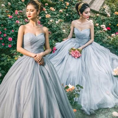ウェディングドレス ベアトップ ビスチェドレス グレー 結婚式ドレス Aライン 花嫁 ブライダル イブニングドレス チュール ノースリーブ 演奏会ドレス