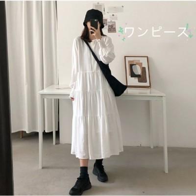 長袖ワンピース 丸えり  無地の色 ハイウエスト 柔らかい 部屋服 ゆったりワンピース大きいサイズ 任意の組み合わせ