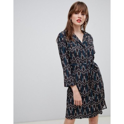 ダーリン レディース ワンピース トップス Darling Geo Print Belted Shirt Dress Blue