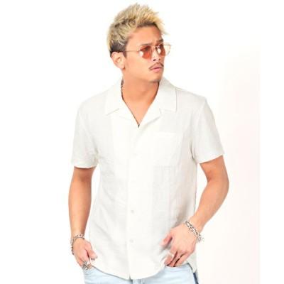 【ラグスタイル】 ボタニカルリンクスJQD開襟シャツ/開襟シャツ メンズ オープンカラーシャツ 半袖 メンズ ホワイト L LUXSTYLE