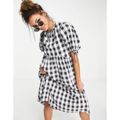 エイソス レディース ワンピース トップス ASOS DESIGN gingham midi smock dress with puff sleeve and open back Black/white gingham