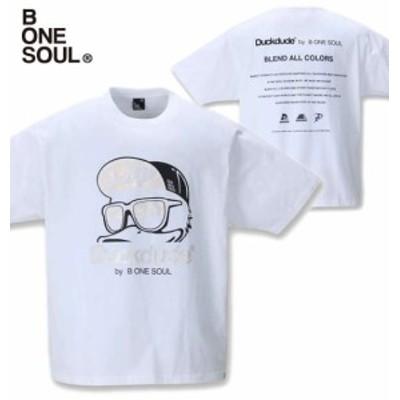 大きいサイズ b-one-soul DUCK DUDEメタリック半袖Tシャツ ホワイト 3L 4L 5L 6L/1258-1521-1-39