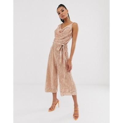 ラビッシュアリス レディース ワンピース トップス Lavish Alice sequin embellished cowl neck culotte jumpsuit in rose gold