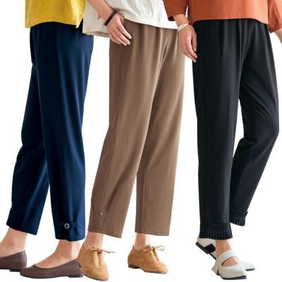 ベルーナ 【3本組】裾デザインゆったりワイドパンツ<ポピリン> 股下55cm L レディース