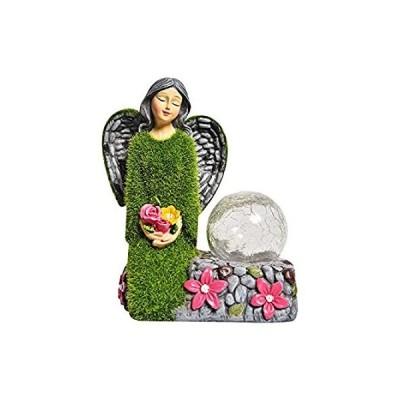 ASAWASA フロック加工ソーラーガーデンスタチューと彫刻 アウトドアデコレーション ソーラーパワーライト付きガーデンフィギュア パティオ/芝生/庭
