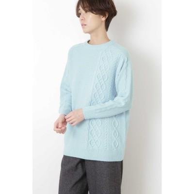 ◆ミドルゲージアランニット ブルー