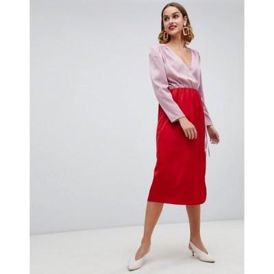 ウエアハウス レディース ワンピース トップス Warehouse wrap midi dress with tie detail in color block