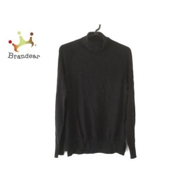 サリースコット 長袖セーター サイズM レディース 黒×ベージュ タートルネック/刺繍 新着 20200318