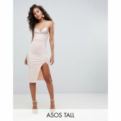 エイソス ASOS Tall レディース ボディコンドレス ミドル丈 ワンピース・ドレス Tall Sequin Bra Top Midi Bodycon Dress ヌードカラー