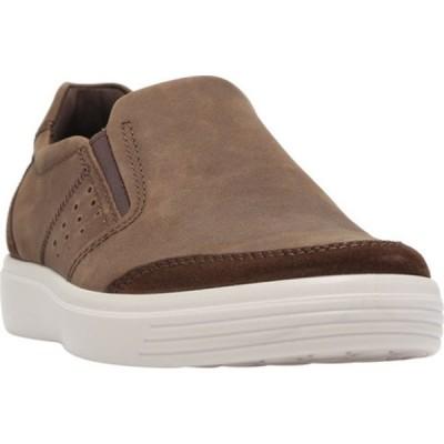 エコー メンズ スニーカー シューズ Soft Classic Twin Gore Slip On Sneaker Coffee/Coffee Suede/Nubuck