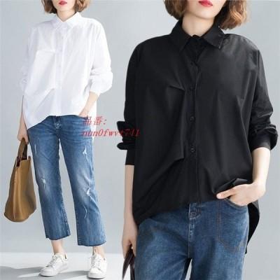 ブラウス ロング 白シャツ 大きいサイズ OL 大人 春シャツ トップス フレアシャツ シャツブラウス ゆったり レディース シャツ 無地 体型カバー 通勤 30