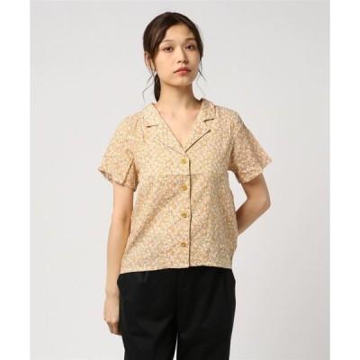 シャツ ブラウス 小花柄 開襟後ろリボン 半袖シャツ