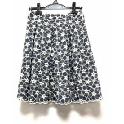 エムズグレイシー M'S GRACY スカート サイズ38 M レディース 美品 ネイビー×白 フラワー/刺繍【中古】20200526